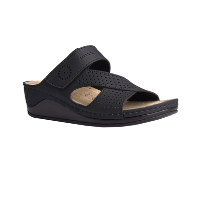 Beech-matt-black-medium-wedge-velcro-side-comfort-mule-1