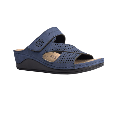 Beech-navy-medium-wedge-velcro-side-comfort-mule-1