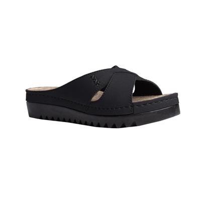 Buckthorn-matt-black-flatform-strappy-comfort-mule-1
