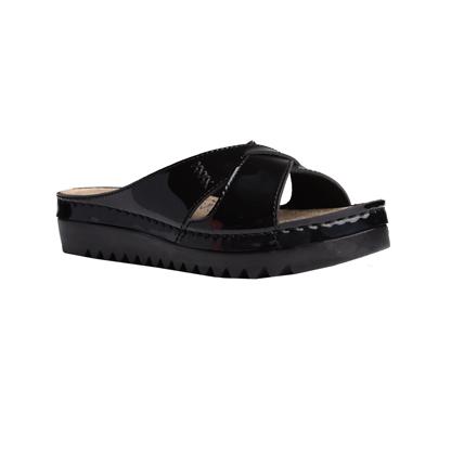Buckthorn-shiny-black-flatform-strappy-comfort-mule-1