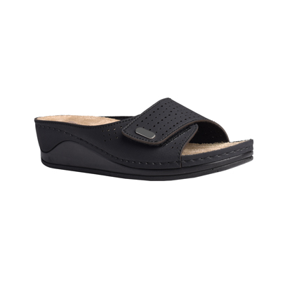 Carob-black-medium-wedge-adjustable-velcro-comfort-mule-1