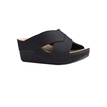Elm-matt-black-high-wedge-strappy-comfort-mule-1