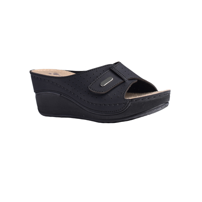 Eucalyptus-matt-black-high-wedge-velcro-strap-comfort-mule-1