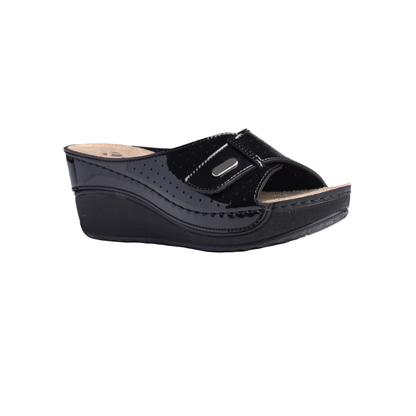 Eucalyptus-shiny-black-high-wedge-velcro-strap-comfort-mule-1