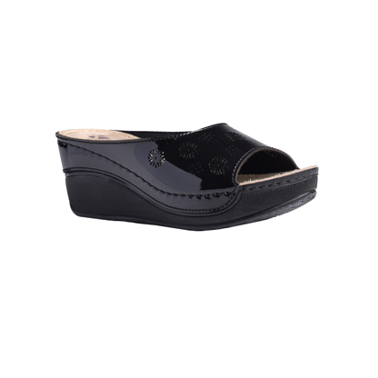 Frangipani-shiny-black-high-wedge-flower-detail-comfort-mule-1