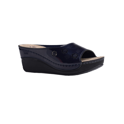 Frangipani-shiny-navy-high-wedge-flower-detail-comfort-mule-1