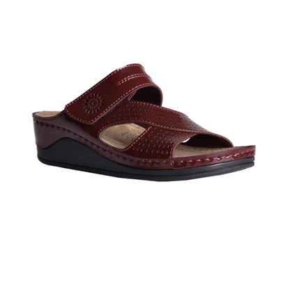 Beech-bordeaux-medium-wedge-velcro-side-comfort-mule-1