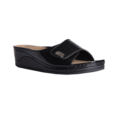 Carob-shiny-black-medium-wedge-adjustable-velcro-comfort-mule-1