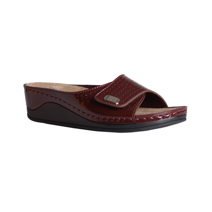 Carob-shiny-bordeaux-medium-wedge-adjustable-velcro-comfort-mule-1