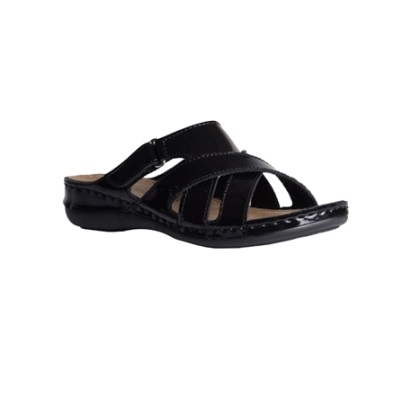 Maple-shiny black-low-wedge-strappy-comfort-mule-1