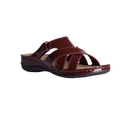 Maple-shiny bordeaux-low-wedge-strappy-comfort-mule-1