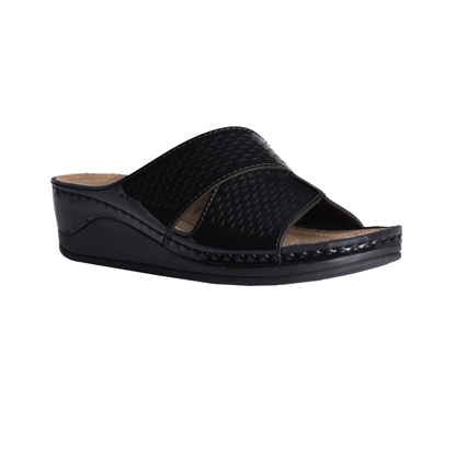 Ash-shiny-black-medium-wedge-comfort-mule-1