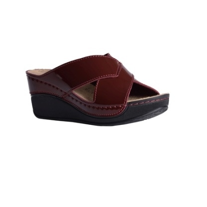 Elm-shiny-bordeaux-high-wedge-strappy-comfort-mule-1