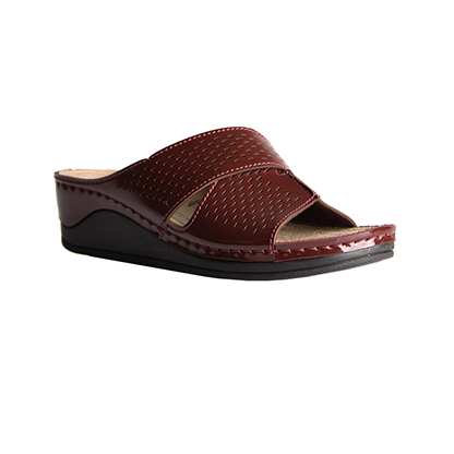 Ash-shiny-bordeaux-medium-wedge-comfort-mule-1